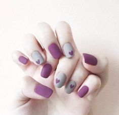 "Purple is one of the most popular colors this year, full of mysterious and romantic atmosphere. Purple is the most iconic ""fascinating color"" Purple nail a Cute Acrylic Nails, Cute Nails, Gel Nails, Nail Polish, Korean Nail Art, Korean Nails, Asian Nails, Nail Drawing, Purple Nail Art"