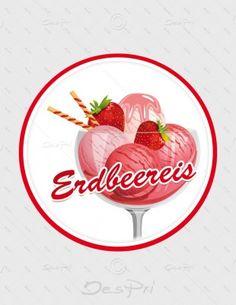 Aufkleber - Erdbeereis, rund, A-FP-0004B | Gastronomie | Aufkleber | Werbedesigns | Despri