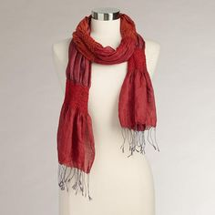 One of my favorite discoveries at WorldMarket.com: Red Puckered Silk Scarf