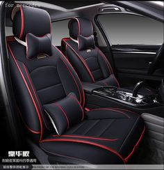 For Benz Mercedes W203 W204 W211 ML300 Red Black Waterproof Soft Pu Leather Car Seat Cover