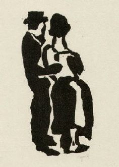 Bohuslav Reynek Milenci / Lovers linoryt / linocut 11 x 5 cm, 1920 opus G 6 Light And Shadow, Face And Body, Art Gallery, Silhouette, World, Lovers, Portraits, Character, The World