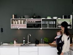svart vägg i köket