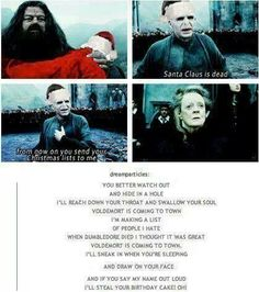 Voldemort Santa Claus is coming to town parody