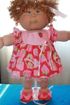 """Cabbage Patch Doll Cloths -Pink Dress, Panties, Bows and Shoes- fits 16""""…"""
