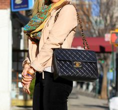 love the lucky scarf & chanel bag.