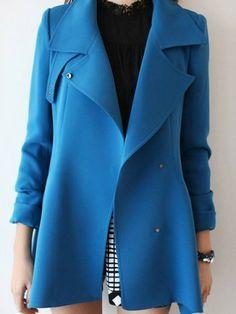 Lapel Dip Hem Trench Coat In Blue - Choies.com