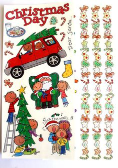 Me & My Big Ideas CHRISTMAS Stickers- Set of 2 Sheets- Page Borders- Christmas Tree, Santa, Cookies. $2.79, via Etsy.