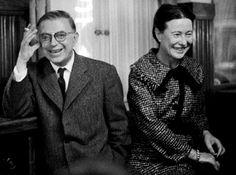 Philosophy's Power Couple, Jean-Paul Sartre and Simone de Beauvoir, Featured in 1967 TV Interview Jean Paul Sartre, Robert Doisneau, Le Castor, Culture Art, Writers And Poets, George Orwell, Famous Couples, Love Affair, Romantic Couples