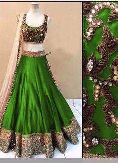 Green Bhagalpuri Embroidery Designer Lehanga Choli   R-97