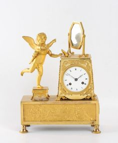 Edwardian (1901-1910) Antique French Marquetry Mahogany Mantle Clock C.1900 By Scientific Process Other Antique Furniture