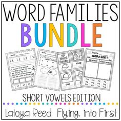 Word FamiliesThis is a bundled packet of all of my short vowel packets.  It is over 500 pages and includes 31 word families that are listed below.  Each word family comes witht the contents listed below. Enjoy! Follow my store by clicking the red star to find out about more upcoming products in this series.Word FamiliesShort a- at ab ad am ap ag an ack andShort e- ed en et est ellShort i- in it ip ig ill idShort o- ock ot op ob ogShort u- ut uck um ub ug unCheck Out a Preview of a Packet…
