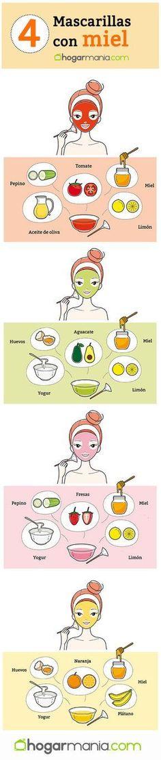 4 mascarillas faciales caseras con miel - Hogarmania - Care - Skin care , beauty ideas and skin care tips Skin Care Masks, Skin Mask, Face Skin Care, Facial Tips, Face Facial, Facial Care, Beauty Care, Beauty Skin, Beauty Hacks