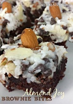 Almond Joy Brownie Bites - fudge brownies layered with coconut, chocolate chips and slivered almonds!