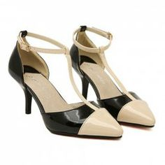 $20.48 Party Women's Pumps With Color Matching T-Strap and Patent Leather Design
