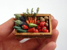 Crate of Vegetables  Dollhouse Miniature one by vesperminiatures, €35.00
