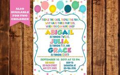 Combined Birthday Party Invitation, Triplet Birthday Invitation, Siblings Party, Triple the Fun Invitation, Sibling Birthday Invitation