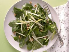 Spinach and Green Apple Salad recipe from Ellie Krieger via Food Network. 12/06/15 This one is a keeper. Using triple washed spinach, it is quick, easy, & tasty.