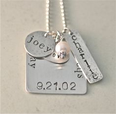 Handstamped Family Necklace in Sterling Silver on by kathykdesigns