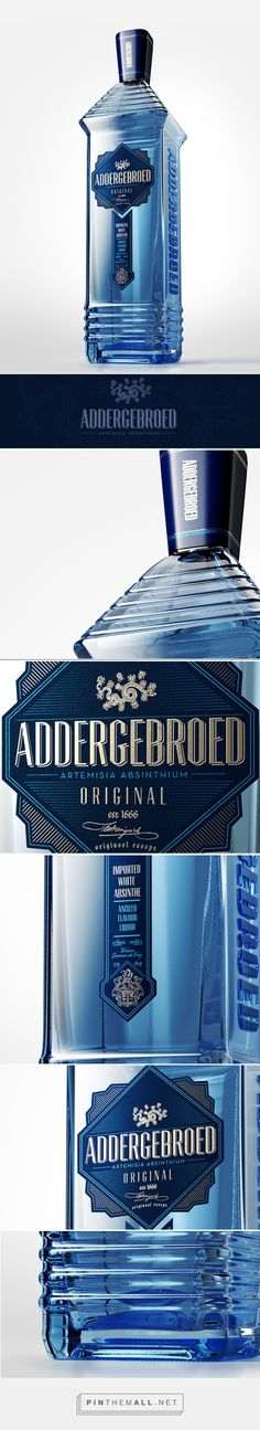 Addergebroed Absinthe packaging on Behance by Marinus Looijenga curated by Packaging Diva PD. Fictional absinthe brand, design and bottle has been created to have a realistic subject in a CGI studio environment.