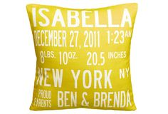 Personalized Baby Pillow by Uptown Artworks: Love the color!  #Baby #Piilow #Uptown_Artworks