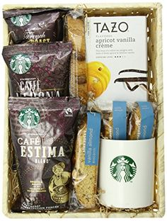 Coffee Gift Baskets - California Delicious Greet the Day with Starbucks Coffee Gift Basket. There is no better way to start the day than with an assortment of Starbucks favorite coffees. Presented along with a beautiful earthenware mug, and served alongside some sweet treats, this is an ideal gift to say thank you, happy birthday, or just to show someone you care.