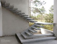 Concrete Stairs Ideas Stairways Ideas For 2019 Cantilever Stairs, Concrete Staircase, House Staircase, Staircase Railings, Spiral Stairs Design, Stair Railing Design, Home Stairs Design, Interior Stairs, Building Stairs