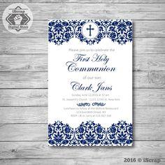 Bautizo invitación niño, primera comunión bautizo invitación de bautismo para imprimir de invitación niño invitación confirmación COD24 de iscrapdesign en Etsy