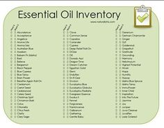 Essential Oil Inventory -- create a list of Have and Want It Essential Oils: