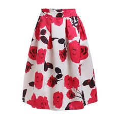 SheIn(sheinside) Rose Print Box Pleated Midi Skirt - White ($15) ❤ liked on Polyvore featuring skirts, white, mid calf skirts, white a line skirt, white summer skirts, white floral skirt and knee length skirts