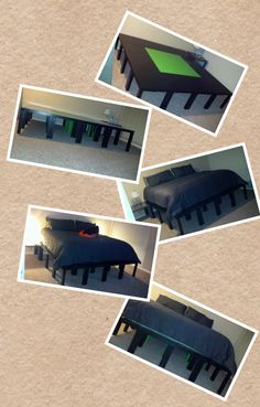 16 - $7.00 Ikea Tables + Mark's patience at putting them all together + Some zip ties = Our awesome platform bed frame!