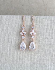 Crystal Bridal earrings Rose gold earrings Wedding by treasures570