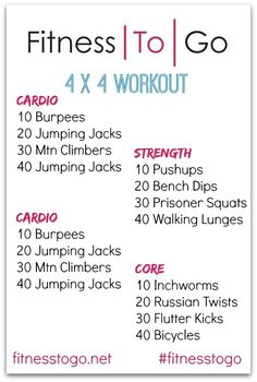 Wednesday Workout 4 x 4 Circuit Bootcamp