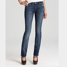 """7 for all mankind Kate size 25 Kate slim straight leg fit. These were professionally hemmed to 28"""" inseam.... I wore them as an ankle/crop style. They have a 7.5"""" rise. They are in EXCELLENT condition!!! Open to reasonable offers. 7 for all Mankind Jeans Straight Leg"""