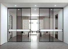 Puertas correderas decorativas en aluminio. Furniture Showroom, Luxury Furniture, Furniture Design, Internal Sliding Doors, Glass Hinges, Design Your Bedroom, Contemporary Interior, Contemporary Office, Windows And Doors