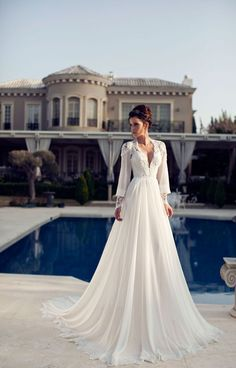 Julie Vino embroidered wedding dresses with long sleeves