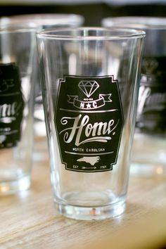 North Carolina Diamond Home Pint Glass - Set of 4 - by Home State Apparel (24.99 USD) by HomeStateApparel