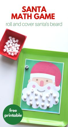 Roll & Cover Santa's Beard Math Game (free; from No Time For Flash Cards)
