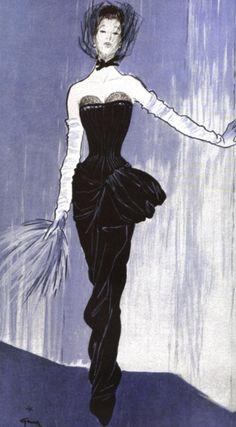 Jacques Fath illustration by Rene Gruau, 1946