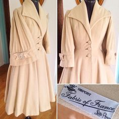 """""""More pictures! 1950s Lilli Ann princess coat with rhinestone buckles. I have not seen this style before in a coat! Please DM if you're interested. 36-27"""""""