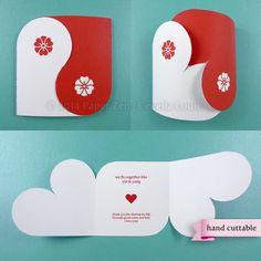 Yin Yang Valentine Card - Printable / Hand Cuttable