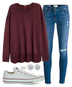 """Untitled #36"" by randomness23 on Polyvore featuring Kendra Scott, Frame Denim and Converse"
