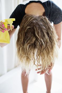 """""""awesome festival hair"""" wonder if this diy scrunching spray will work on my hair -- a beautiful mess"""