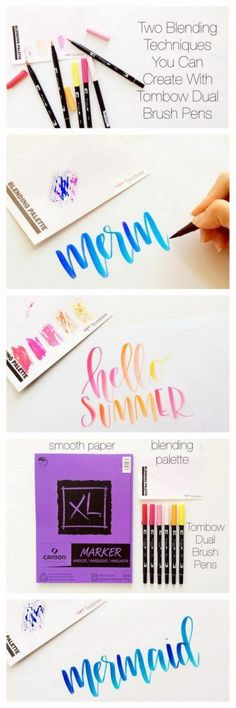Using brush calligraphy in your scrapbooks? Here are two blending styles to try with your Tombow Dual Tips! In this tutorial by Bugaboo Bear Designs for DawnNicoleDesigns. Calligraphy Handwriting, Calligraphy Letters, Typography Letters, Modern Calligraphy, Penmanship, Calligraphy Doodles, Islamic Calligraphy, Calligraphy Markers, Calligraphy Worksheet