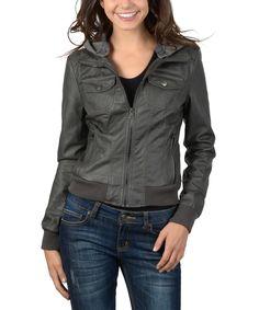 Ci Sono by Cavalini Charcoal Hooded Faux Leather Jacket #jacket #fashion