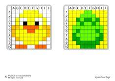 Dyktanda graficzne, nauka kodowania i programowanie dla dzieci - karty pracy do wydruku na Wielkanoc Pattern Art, Pixel Art, Cross Stitch, Coding, Easter, Color, School, Math Resources, Templates