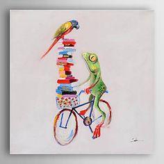 【今だけ☆送料無料】 アートパネル  動物画1枚で1セット ファンタジー 小鳥 カエル 自転車【納期】お取り寄せ2~3週間前後で発送予定