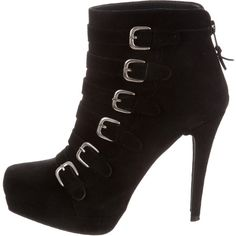 Pre-owned Stuart Weitzman Ankle Boots ($145) ❤ liked on Polyvore featuring shoes, boots, ankle booties, black, black ankle boots, buckle ankle boots, black bootie, suede bootie and suede ankle booties