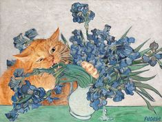 Vincent van Gogh loved flowers, and so does Zarathustra the Cat! 😻 Vincent van Gogh, Irises and the Cat. I Love Cats, Crazy Cats, Cool Cats, Vincent Van Gogh, Fat Cats, Cats And Kittens, Ragdoll Kittens, Funny Kittens, White Kittens