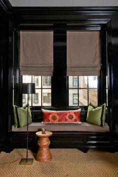 Chic built-in window seat with black lacquered walls, black lacquered crown moldings and black lacquered window moldings over diamond pattern jute rug. Furniture, Room, Interior, Home, House Interior, Dark Interiors, Black Walls, Interior Design, Window Seat