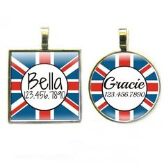 Choose from round in diameter) or square These tags are silver plated, filled with resin and extremely durable. Please supply your pet's name and contact information. Kittens And Puppies, Dog Id Tags, Custom Tags, Pet Id, Union Jack, Pet Names, Pet Collars, Dog Cat, Dogs